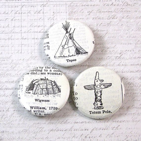 Badges About Handworks: Tepee Pinback Button Set By XOHandworks