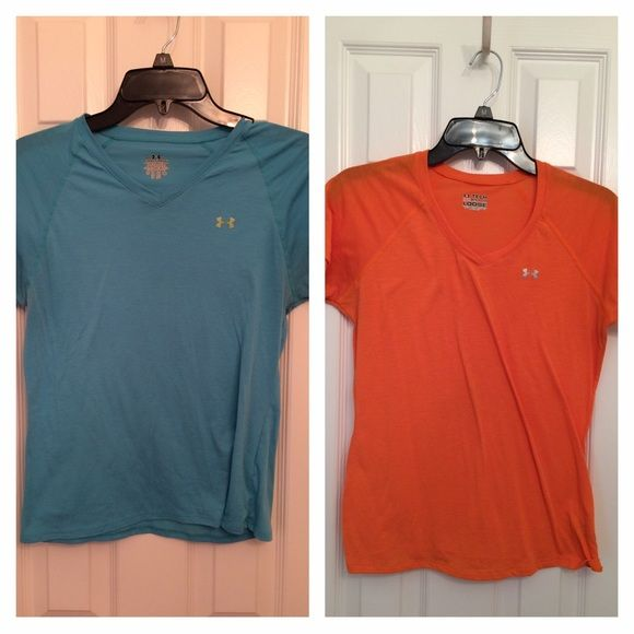 Under Armour workout tops You can buy individual or together. This listing is for both of them. Orange and Aqua top. Size small. Great condition!!  Didn't wear that much at all. Under Armour Tops