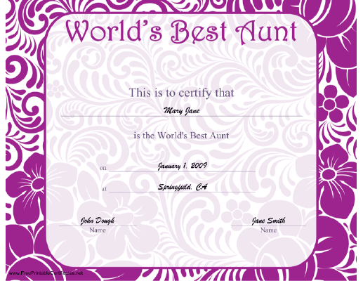 This Printable Certificate For The World S Best Aunt Features A Fun Tropical Printable Certificates Best Aunt Certificate