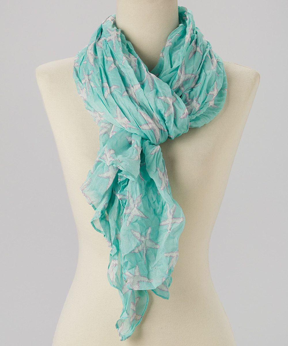 Fashion Beauty Cute Scarfs Pretty: Look At This Seafoam Crinkle Starfish Scarf On #zulily