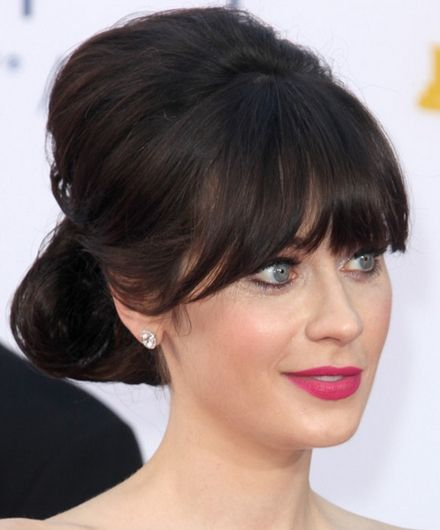 Wedding Hairstyles Fringe: Zooey Deschanel Updo For Long Hair With Bangs