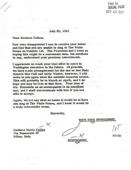 FollowUp Letter From Mrs Kennedy To Maria Callas   John F