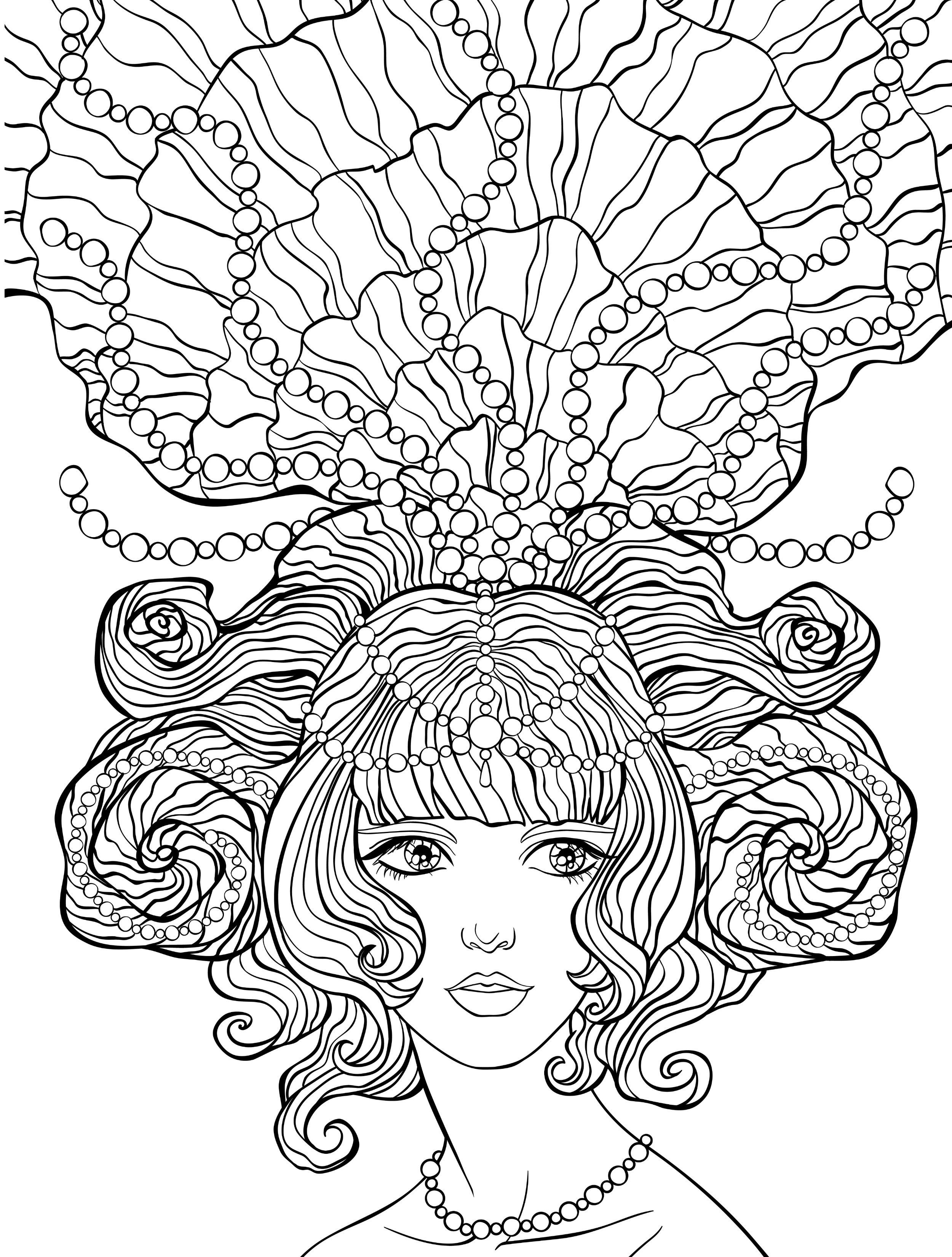 10 crazy hair adult coloring pages coloring pages pinterest
