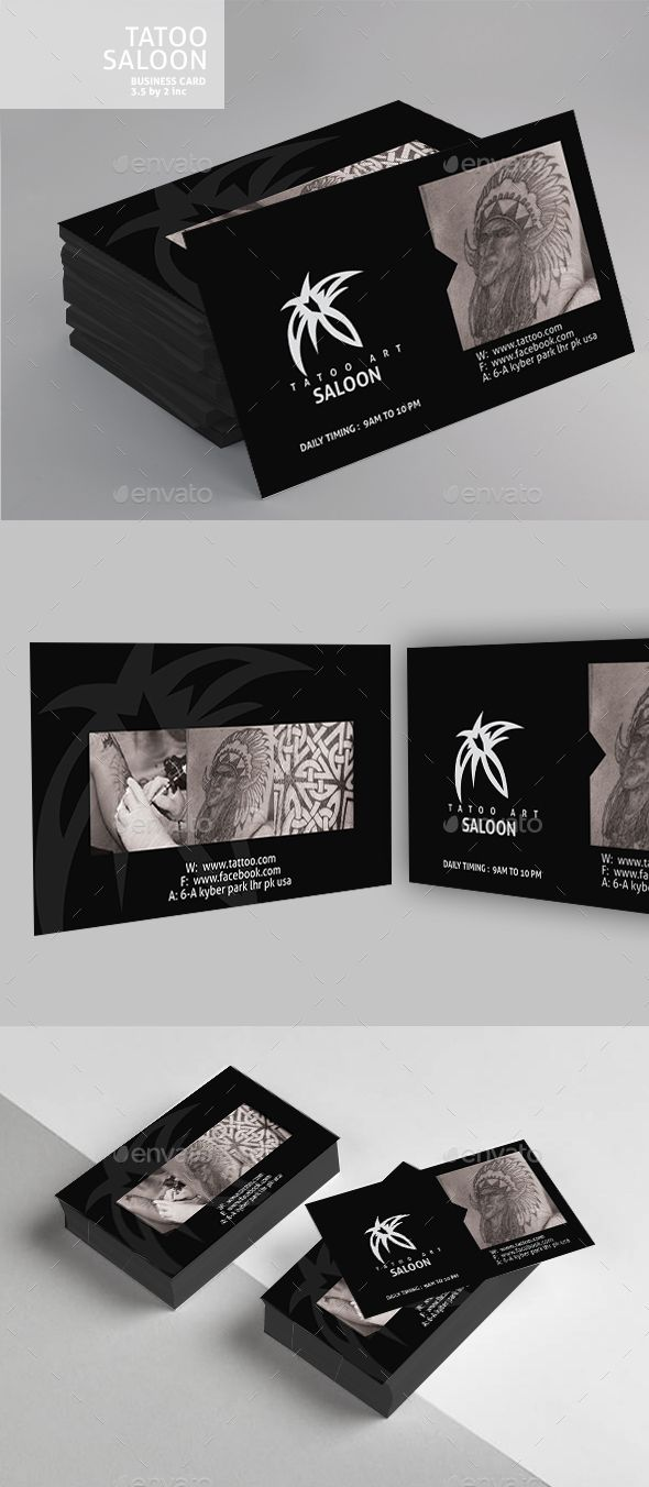 Tattoo Business Card Design | Card printing, Print templates and ...