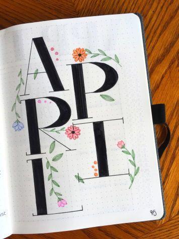 April 2018 | Block Font | Minimalist Theme | Plan With Me | Floral Theme | Flower | Simple Doodles | Bullet Journal | Bujo
