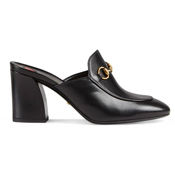 94be15ff8 Gucci Princetown Leather Mid-Heel Mule ( 695) ❤ liked on Polyvore featuring  shoes