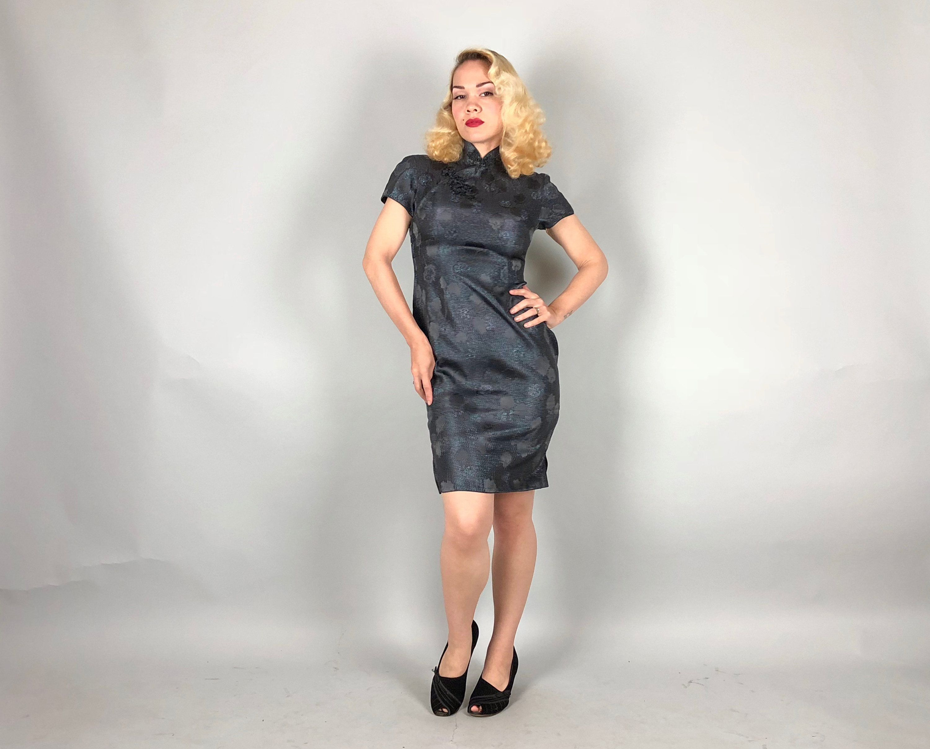 Vintage 1950s Dress | 50s Charcoal Grey Gray Silver Lurex Floral ...