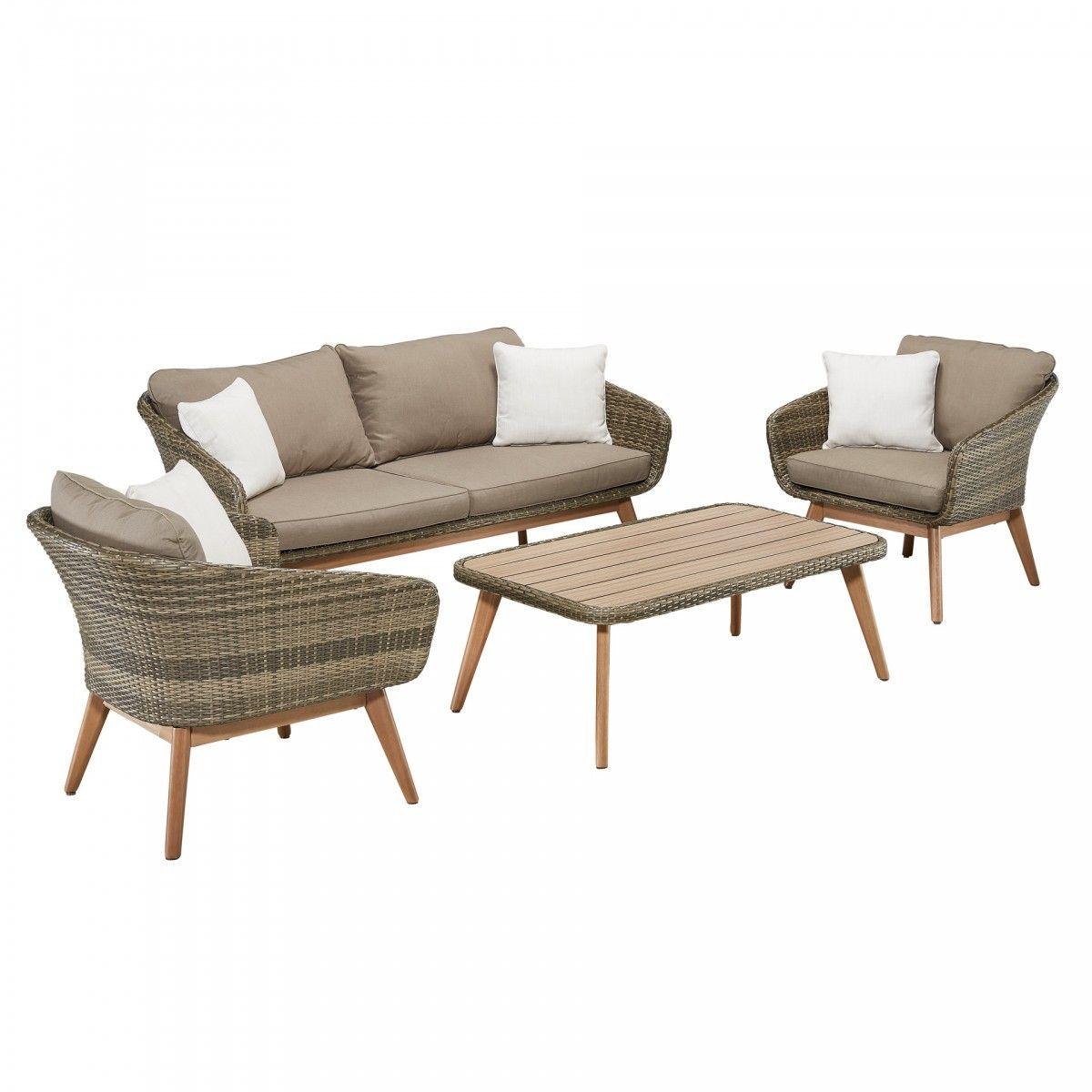 Lounge-Set New York (4-teilig, Polyrattan, beige, Jutlandia)   Beige