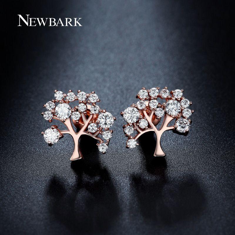 Newbark Flurishing Tree Design Stud Earrings Different
