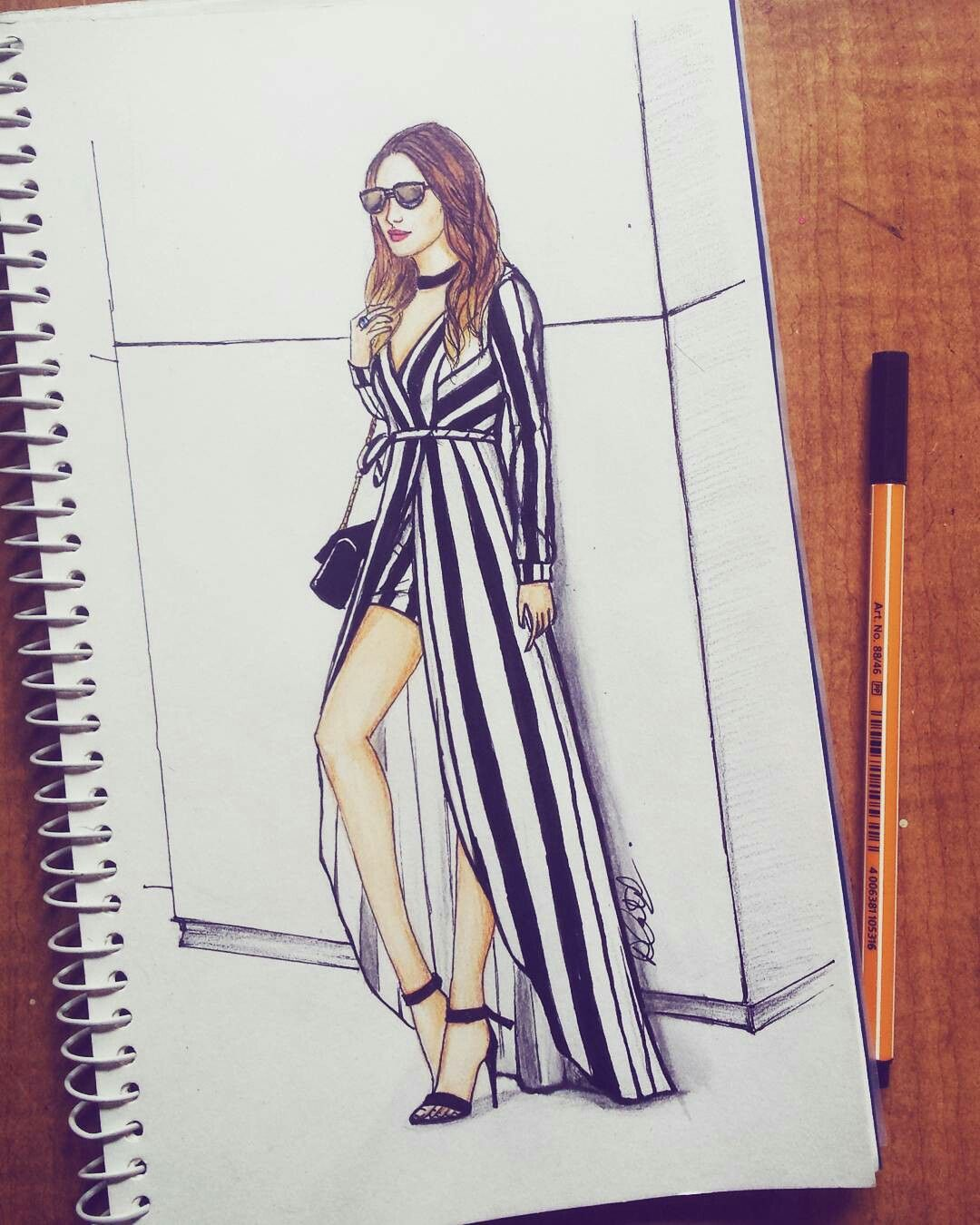 Fashion Illustration Stripes Fashion Illustration Sketches Dresses Fashion Illustrations Techniques Fashion Design Sketches