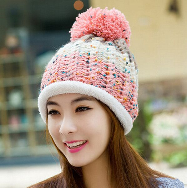 Hairball fleece beanie hats for girls hit color knit winter hats
