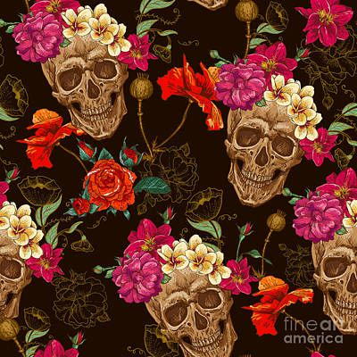Skull And Flowers Seamless Background Art Print by Depiano