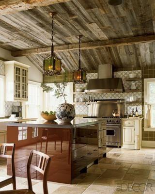 Distressed wood ceilings.