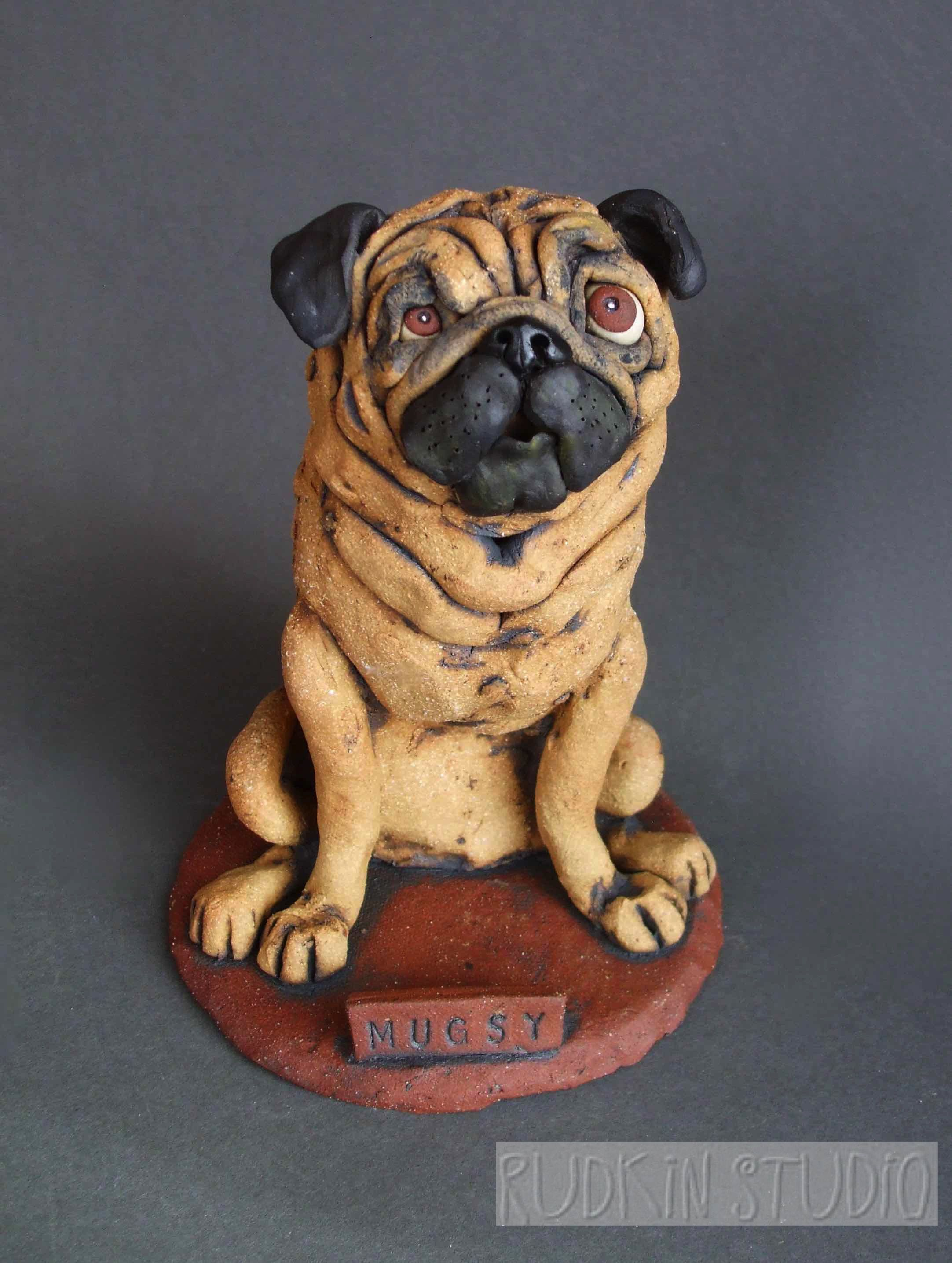 The Sweet Pug Dog In This Custom Sculpture Is Unique In Having One