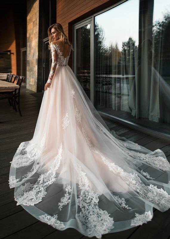 Bohemian boho long sleeves wedding dress Ivory blush light | Etsy