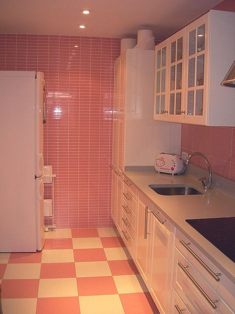 Pink Checkered Floors Kitchen