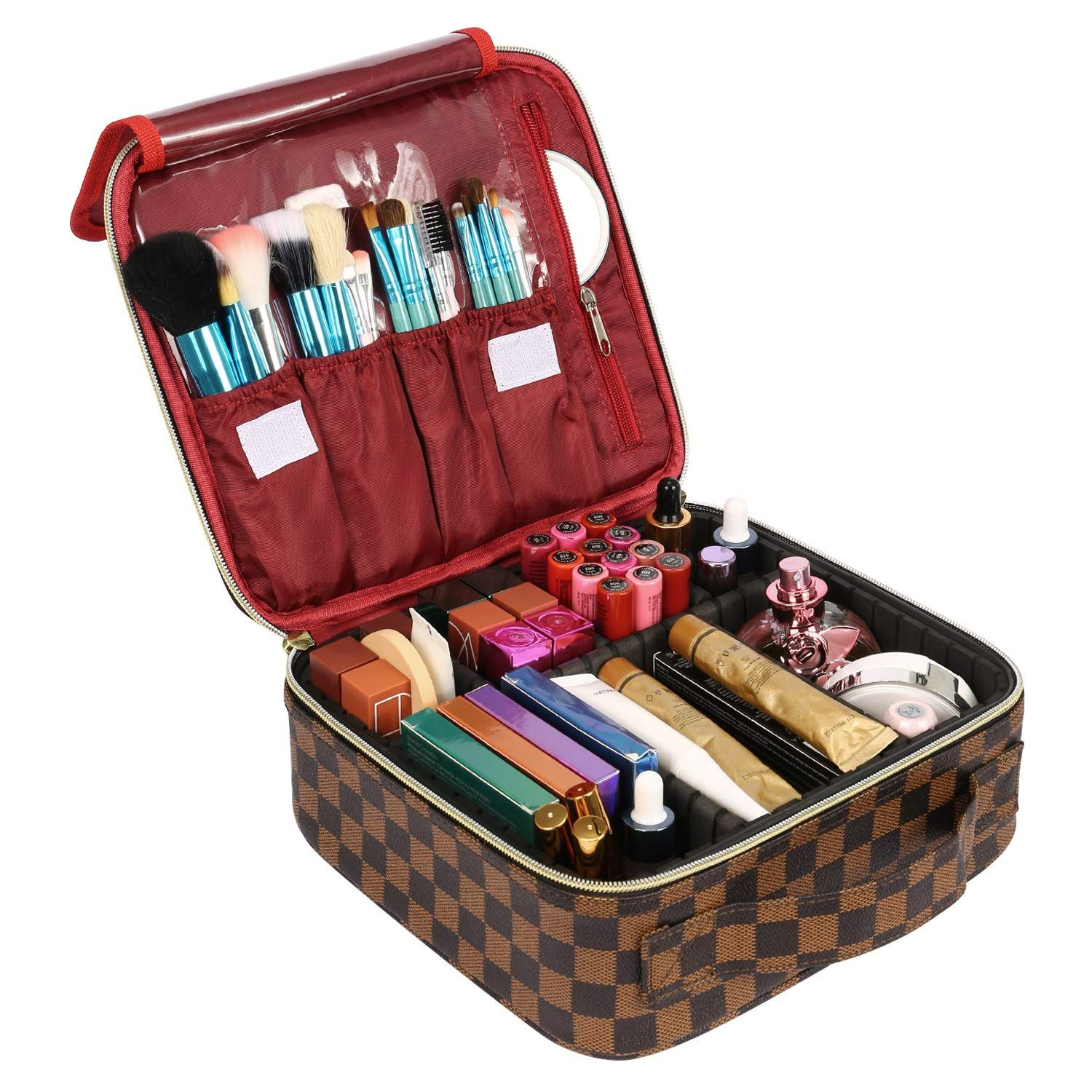 The Luxouria Checkered Makeup Bag Elegant Travel Line Premium Designer Pu Leather Protective Hard Shell 6 Adjustable Cosmetic Dividers Brush Cover 1 In 2020 Makeup Bags Travel Makeup Case Makeup Travel Case
