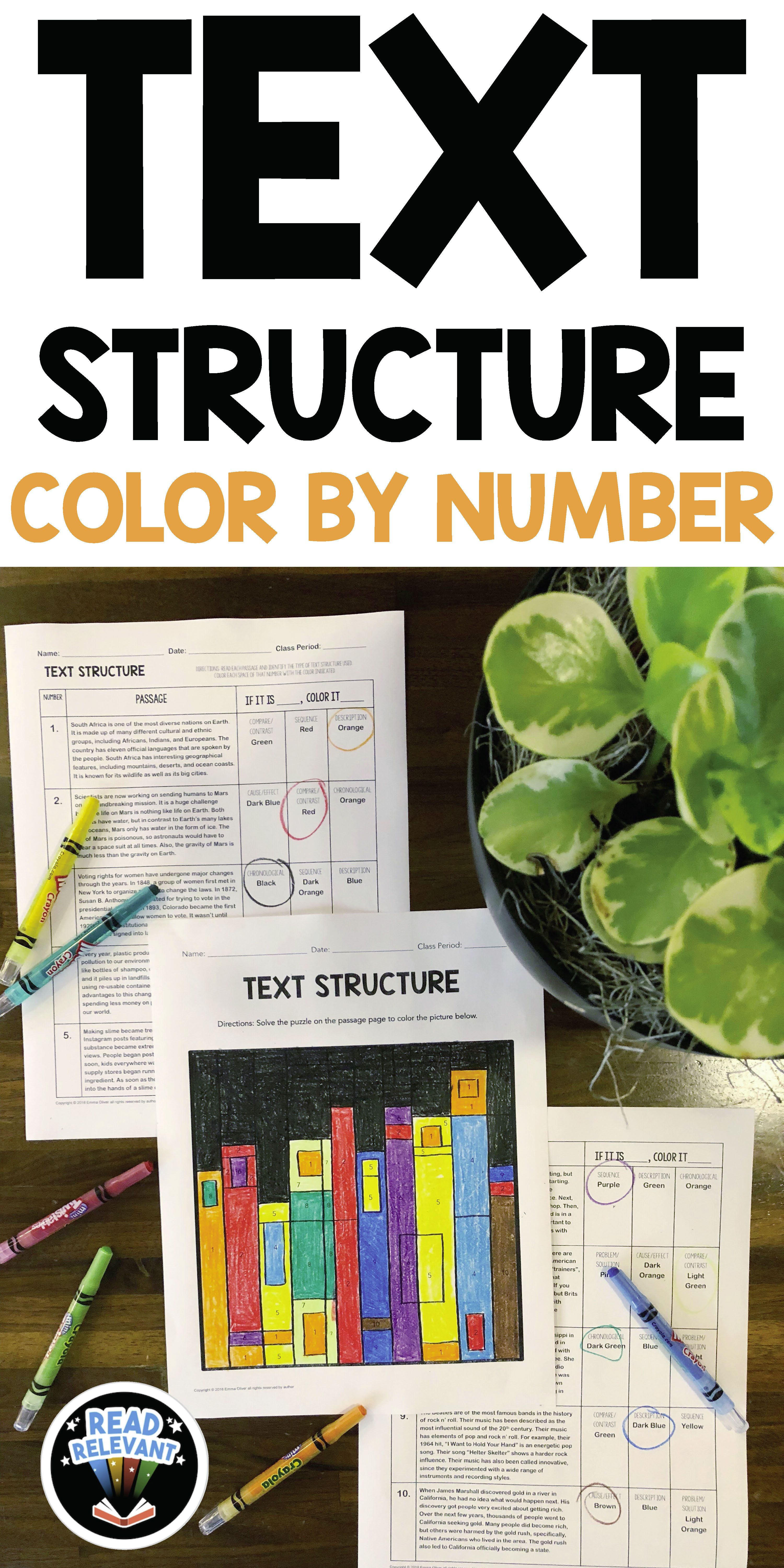 Text Structure Color By Number With Images