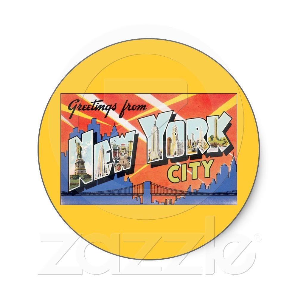 Vintage travel postcard greetings from new york sticker from vintage travel postcard greetings from new york sticker from zazzle kristyandbryce Images