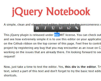 jQuery Notebook – Simple and Elegant WYSIWYG Rich Text
