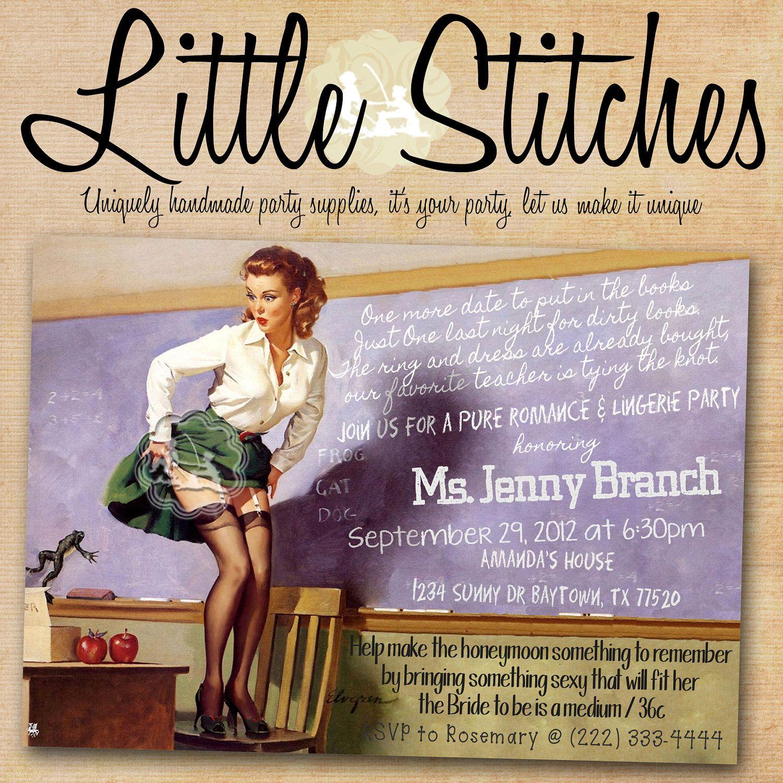 Teacher Pin Up Girl Lingerie or Bachelorette Party invitation ...