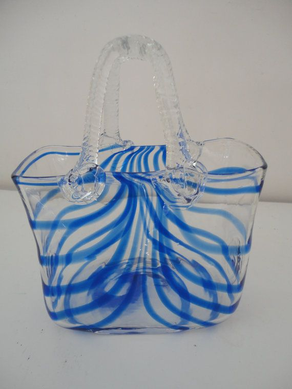 Vintage Hand Blown Glass Purse Blue Twirl Murano Style Glass Handbag