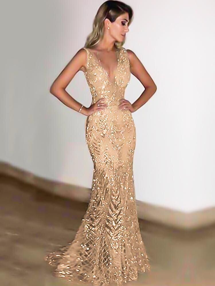 Fancyqube Gold Women Deep V Neck Mermaid Sequin Evening Party Prom Dress 81022cd46843