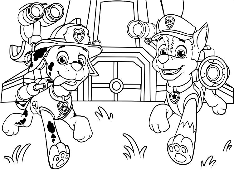Paw Patrol Chase And Marshall Coloring Pages Paw Patrol Coloring Pages Paw Patrol Coloring Coloring Pages