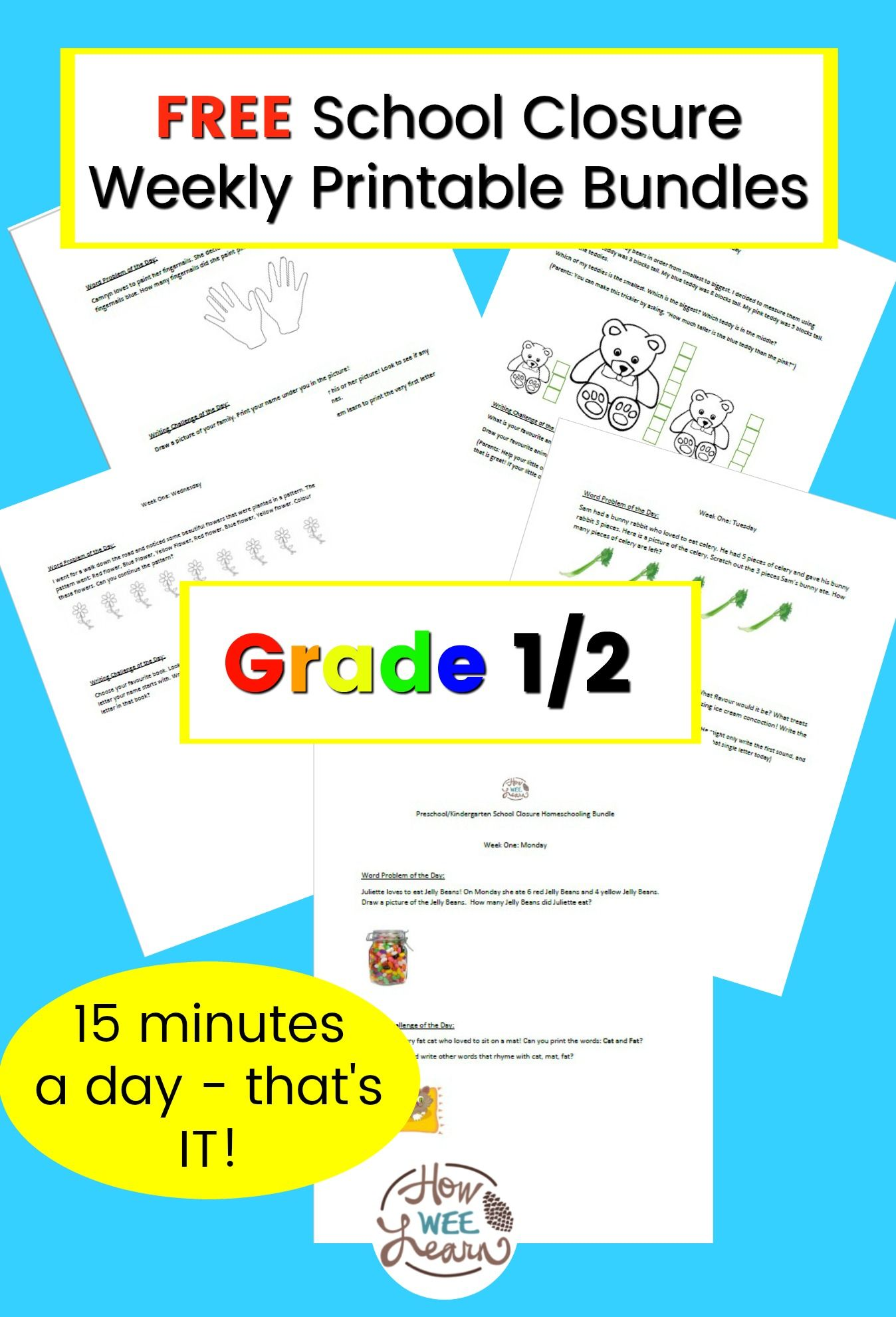 Grade One And Two School Closure Homeschooling Printable