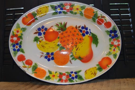 Vintage Serving Tray Metal White Enamel With Colorful