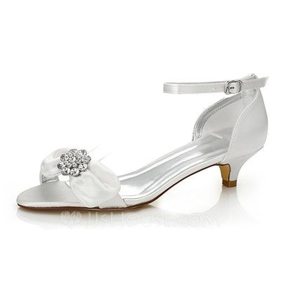 85216c4c376  US  54.99  Women s Satin Low Heel Sandals Dyeable Shoes With Bowknot  Rhinestone (047088669)