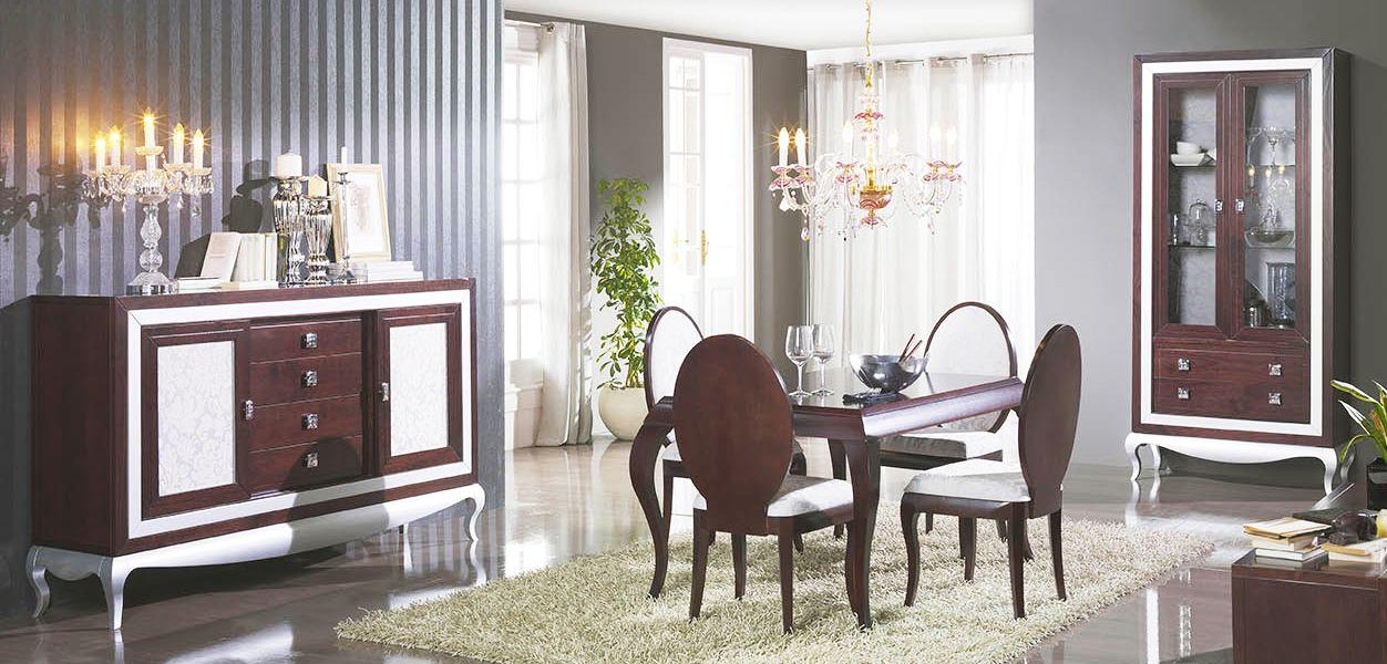 Muebles de sal n en madera de pino y con aparador vitrina for Comedor isabelino