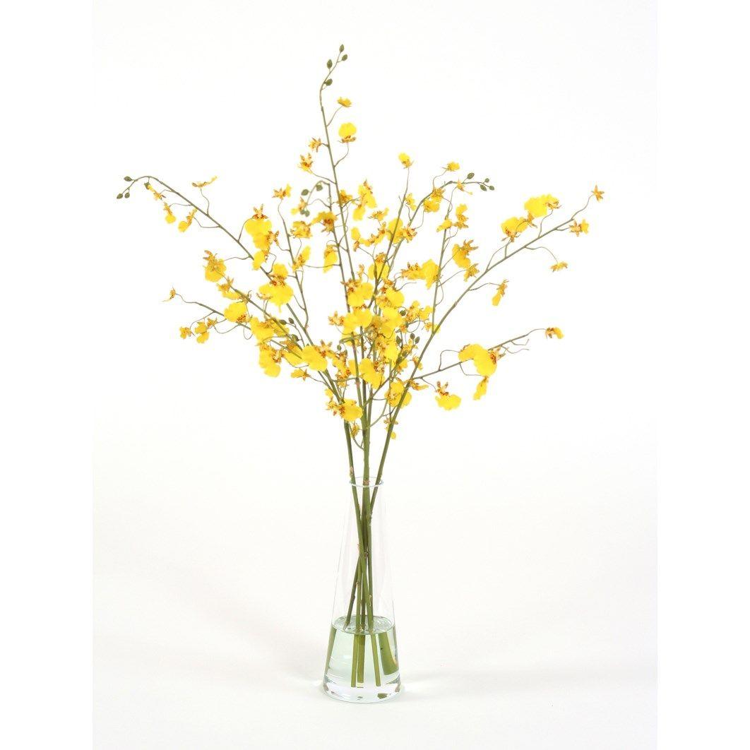 Distinctive Designs 15765 Waterlook Silk Gold-Yellow Oncidium Orchids in a Glass Beaker Vase