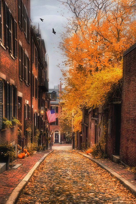 Beacon Hill, Boston Photography, Boston Prints, Acorn Street, New England Art, Boston Gifts, Autumn Decor, Autumn in New England #autumnscenery