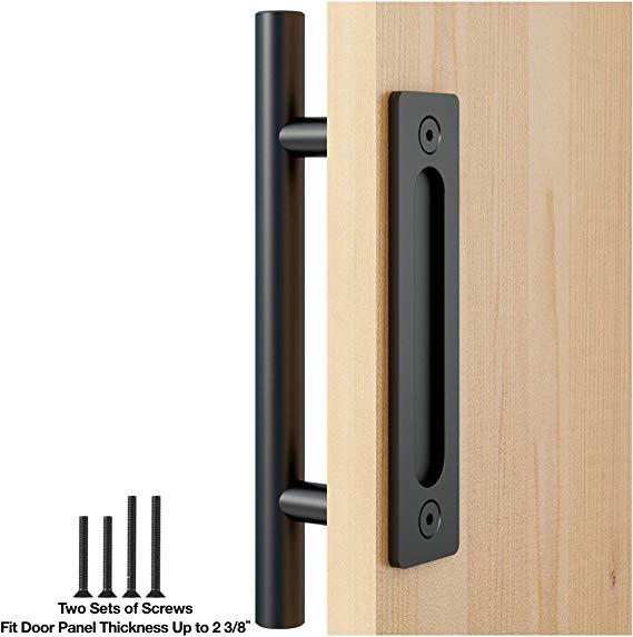 Amazon Com Faithland 12 Heavy Duty Pull And Flush Door Handle Set In Black Sliding Barn Door Handle Fit Doors U Door Handles Barn Door Handles Flush Doors