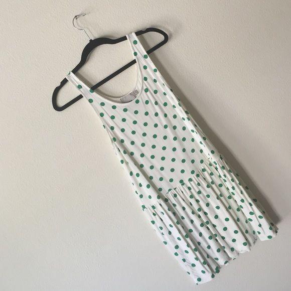 Asos green and white polka dot dress Asos white with green Polka dots dress drop waist ASOS Dresses