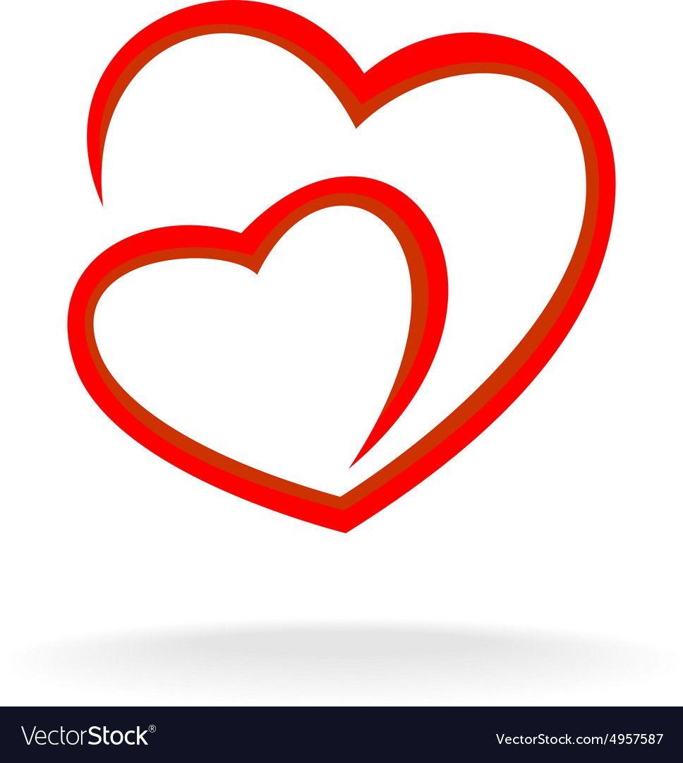 Download Two hearts logo Royalty Free Vector Image - VectorStock ...