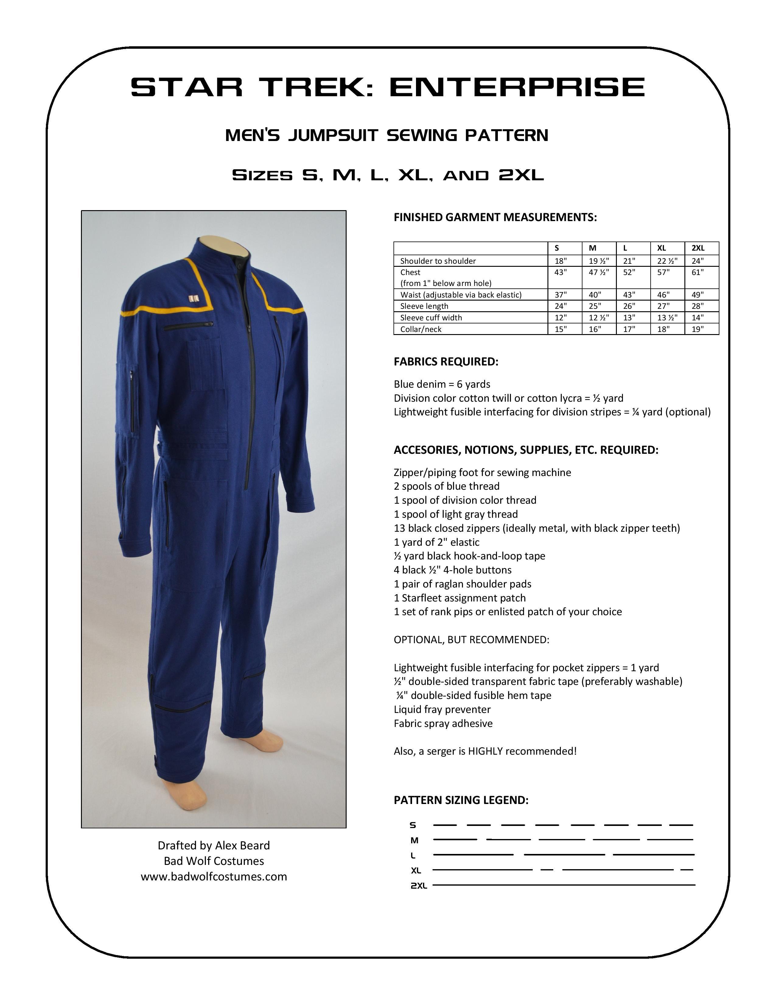 Star Trek: Enterprise Men\'s Jumpsuit Sewing Pattern   Star Trek and ...