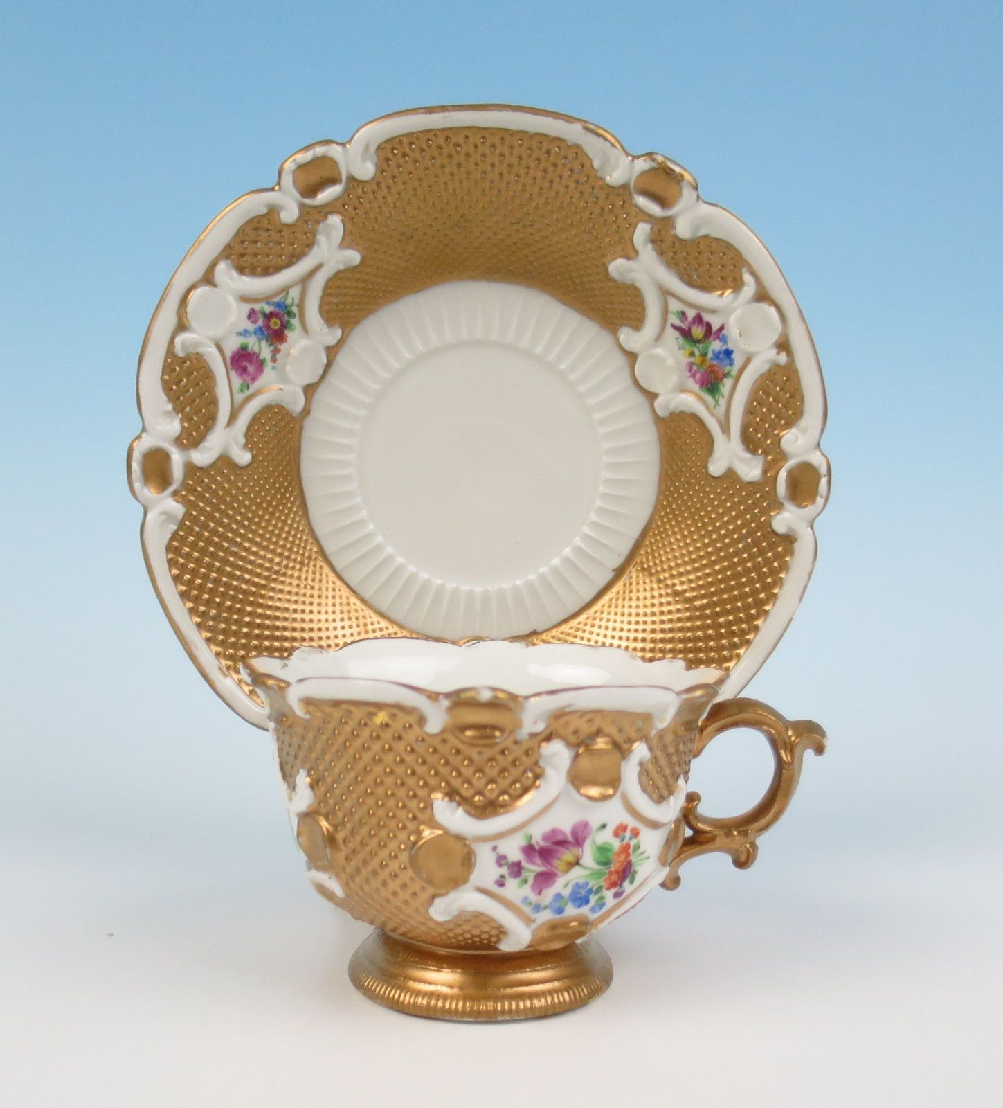 Early 6thC. Meissen Embossed Gold & Flowers Cup & Saucer Antique