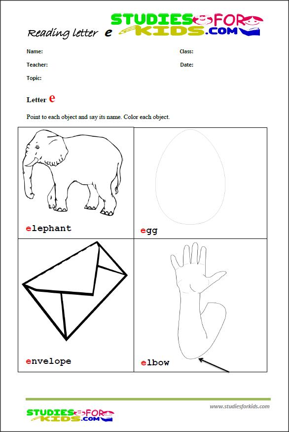 teaching the letter e printable reading worksheet printable worksheet pdf ngole reading. Black Bedroom Furniture Sets. Home Design Ideas