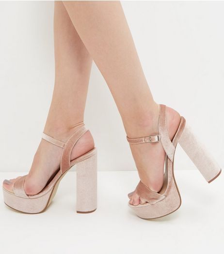 51d4587bb83e Pink Velvet Ankle Strap Platform Block Heels