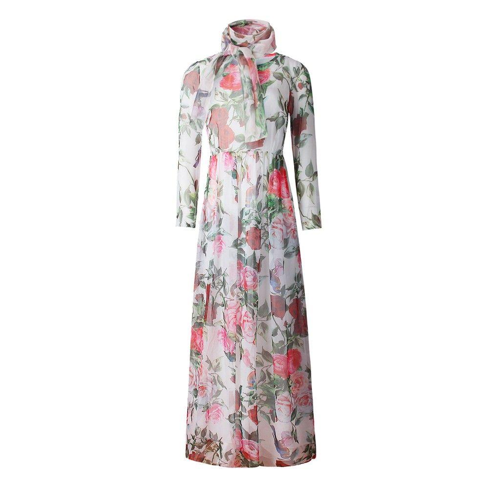 932ca5c0d4 Only US$18.75, New Summer Women Chiffon Maxi Long Dress Rose Bird Print O- Neck - Tomtop.com