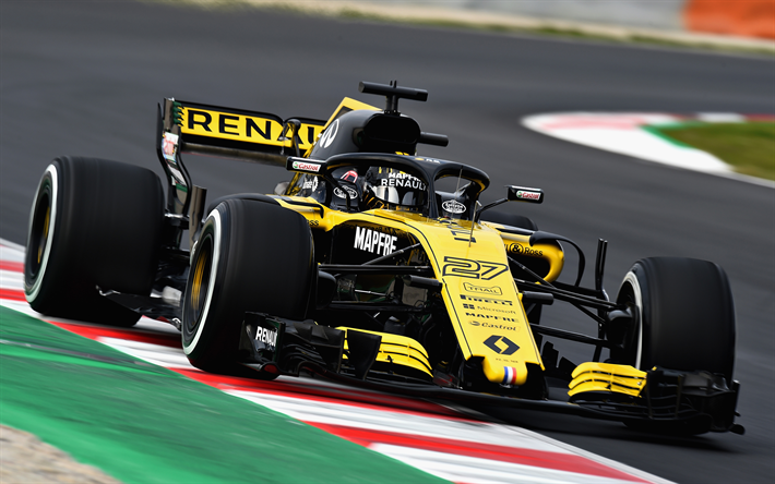 download wallpapers 4k nico hulkenberg raceway renault rs 18 formula one 2018 cars f1. Black Bedroom Furniture Sets. Home Design Ideas