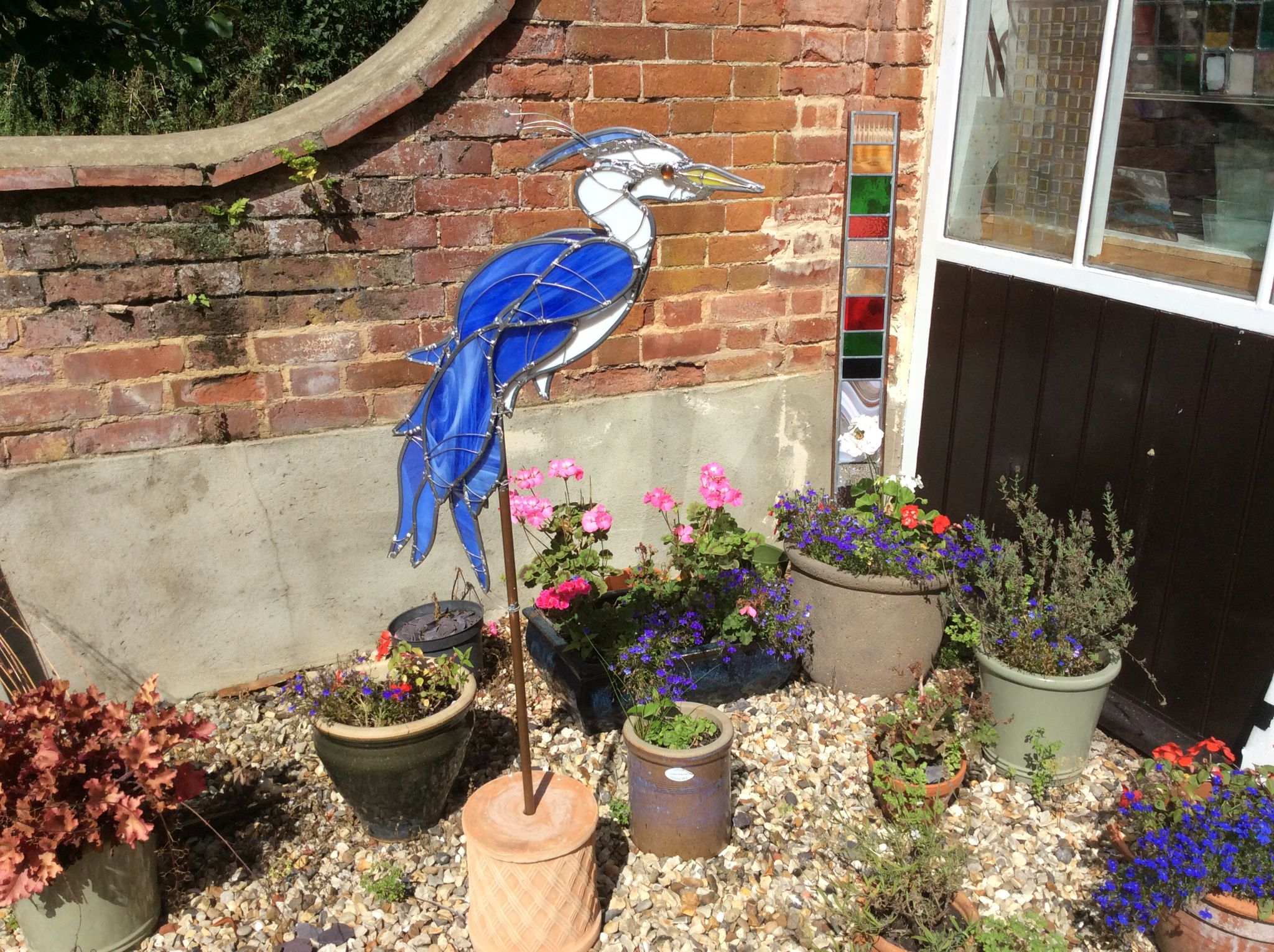 New commissioned 3D stained glass garden feature in Norfolk.