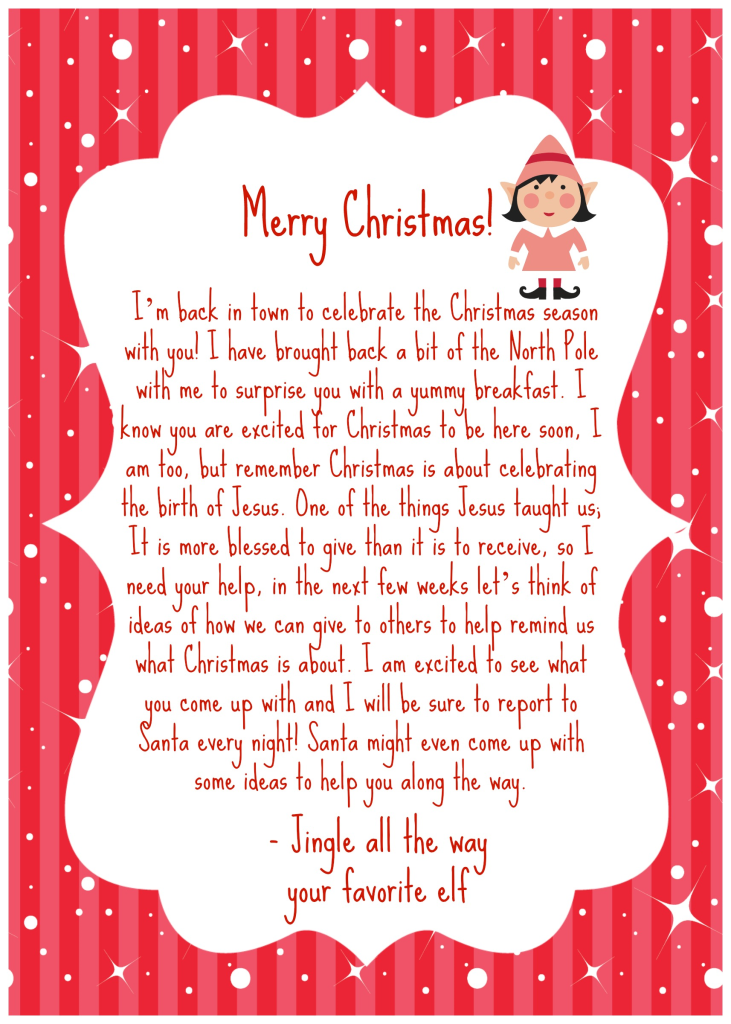 Sizzling image within elf on the shelf welcome back letter printable