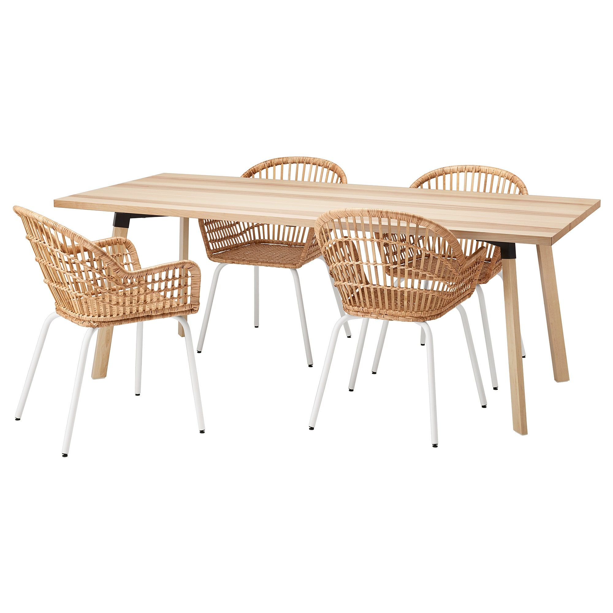 YPPERLIG / NILSOVE Table and 4 chairs, ash, rattan white