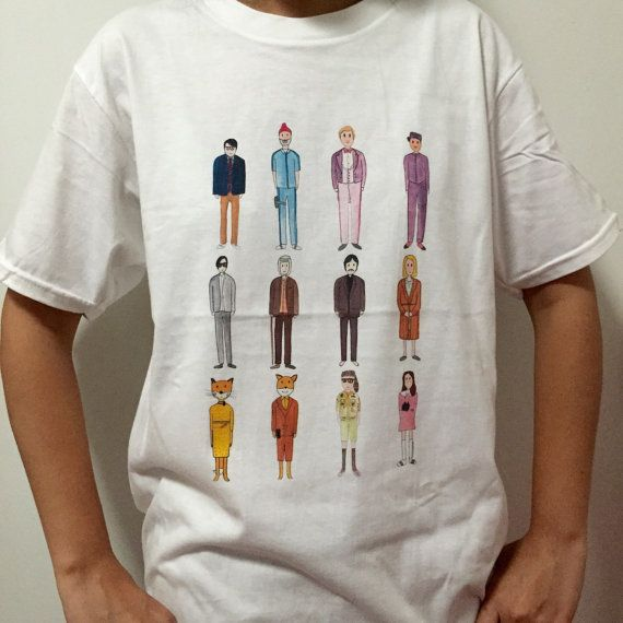 7ebce1908 Wes Anderson inspired movie characters collection - Unisex T-Shirt ...