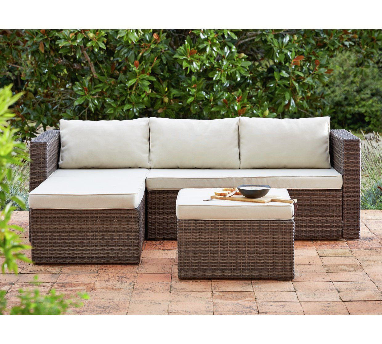 Buy Home 3 Seater Rattan Effect Mini Corner Sofa At Argos Co Uk Your Online Shop For Garden Cha Corner Sofa Garden Rattan Garden Furniture Rattan Corner Sofa