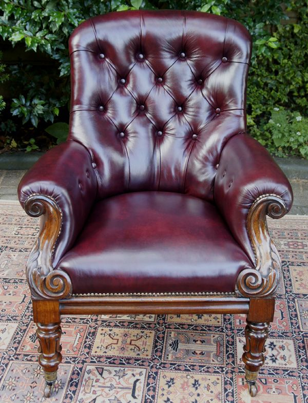 Antique Rosewood and Leather Library Chair or Armchair Date: circa 1835 - Antique Rosewood And Leather Library Chair Or Armchair Date: Circa