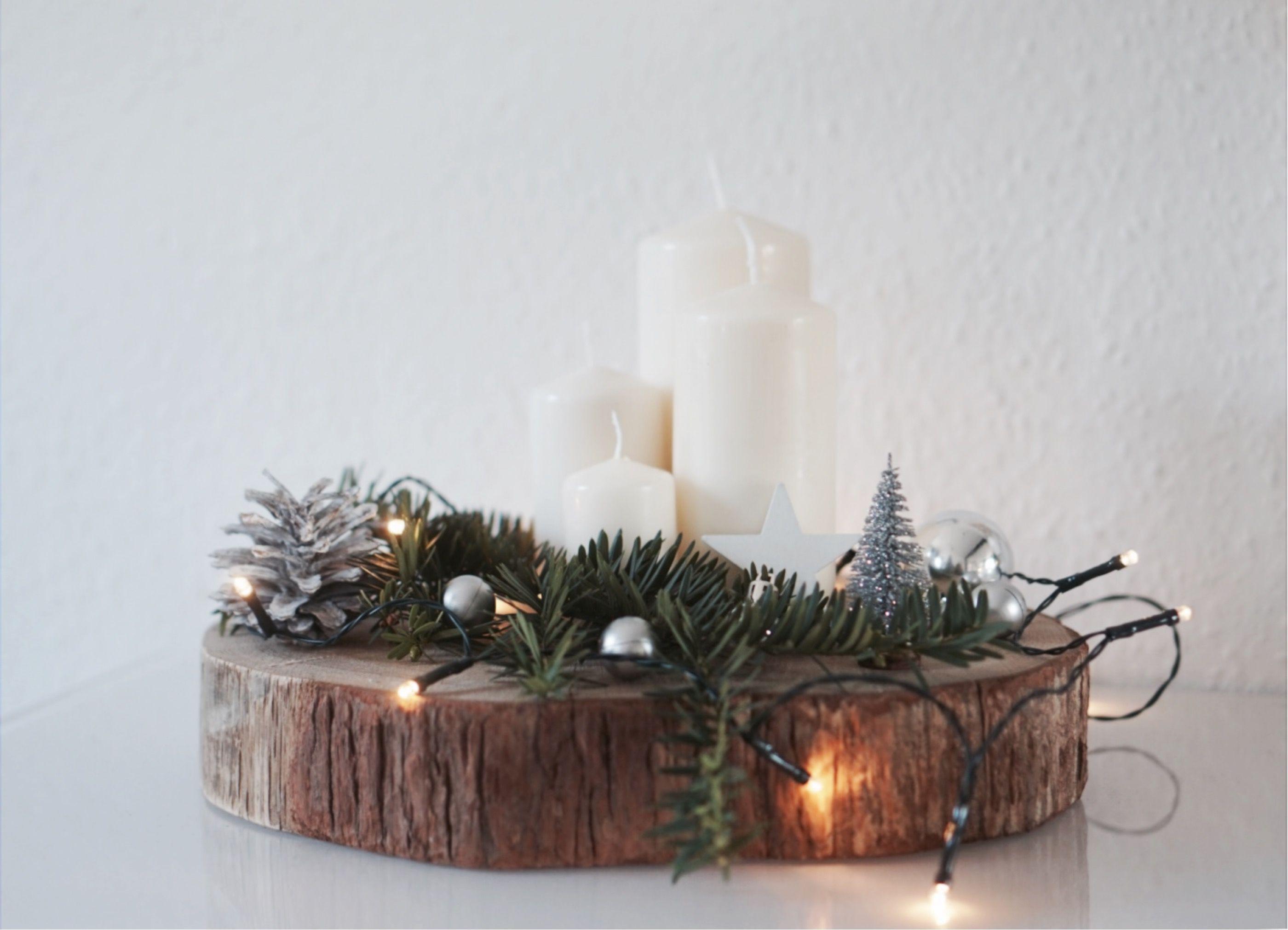 Adventskranz Advent Diy Baumscheibe Weihnachten Tannenzweige